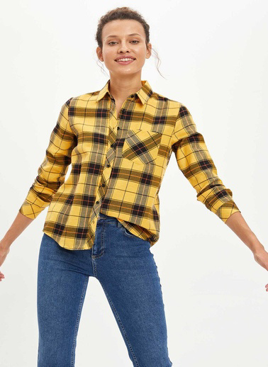 DeFacto Kareli Uzun Kollu Gömlek Sarı